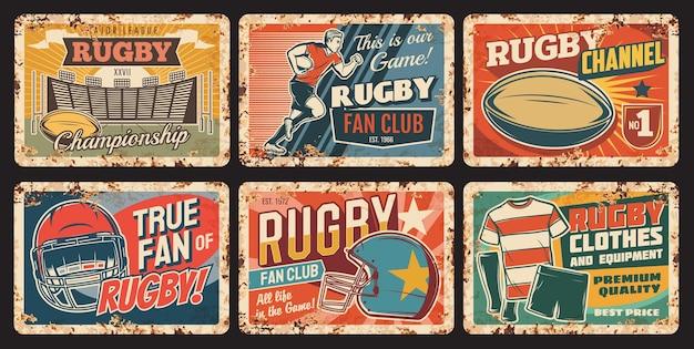 Rugby sport piastre metalliche arrugginite, giocatore eseguito con palla, casco, uniforme, campo giochi segni di latta ruggine attrezzature sportive football americano.