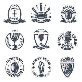 Distintivi e loghi delle squadre di rugby. calcio sportivo, palla emblema