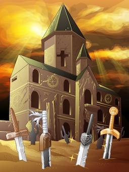 Cappella rovinata dell'alba sul deserto.