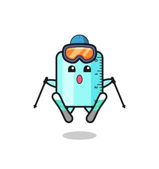 Personaggio mascotte righello come giocatore di sci, design in stile carino per maglietta, adesivo, elemento logo