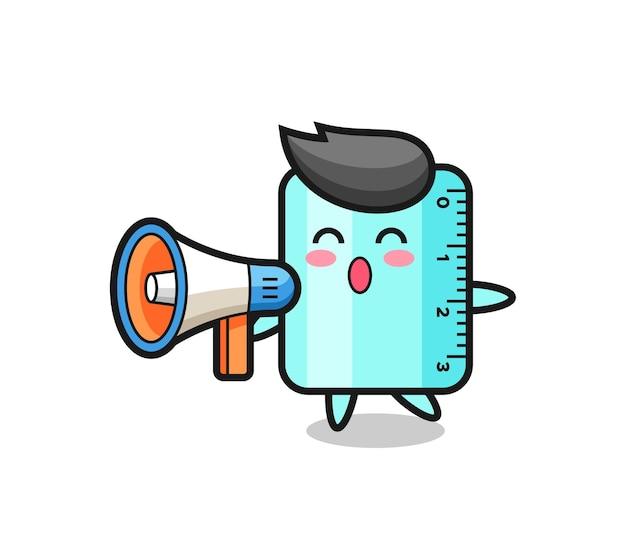 Illustrazione del personaggio del righello che tiene un megafono, design in stile carino per maglietta, adesivo, elemento logo