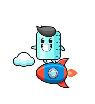 Personaggio mascotte del righello che cavalca un razzo, design in stile carino per maglietta, adesivo, elemento logo