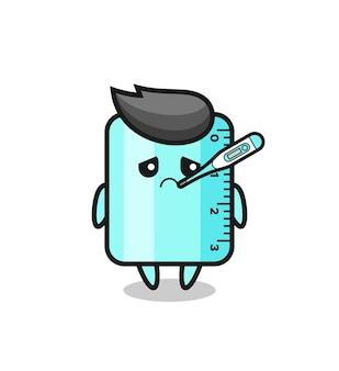 Personaggio mascotte del righello con febbre, design in stile carino per maglietta, adesivo, elemento logo