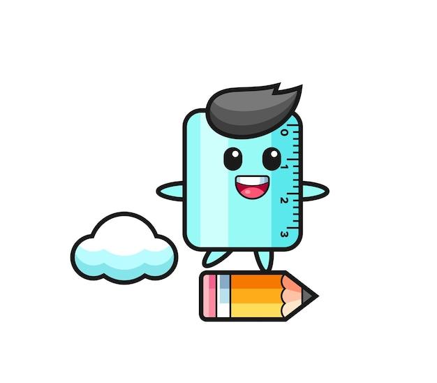 Illustrazione della mascotte del righello che cavalca una matita gigante, design in stile carino per maglietta, adesivo, elemento logo