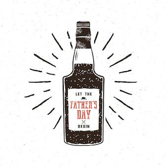 Bottiglia di rum in stile retrò con un sospiro: che la festa del papà abbia inizio. concetto di vettore divertente per la celebrazione festa del papà 2017. isolato su priorità bassa bianca strutturata.