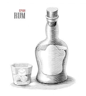Bottiglia di rum con clipart in bianco e nero di stile dell'incisione dell'illustrazione di vetro isolata
