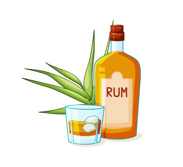 Il rum è una bevanda alcolica in bottiglia e un bicchiere con ghiaccio su sfondo bianco cartoon