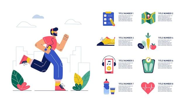 Esegui l'infografica. jogging, esercizi per la salute. uomo che corre e scarpa sportiva, attrezzatura, bevanda, battito cardiaco. presentazione per la maratona. sport in stile piatto. illustrazione.