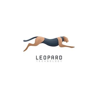 Esegui il colore sfumato del logo moderno leopardo