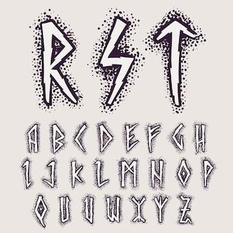 Alfabeto di rune sullo sfondo dei punti. simbolo occulto nordico per identità, pacchetto, libro, diploma, ecc.