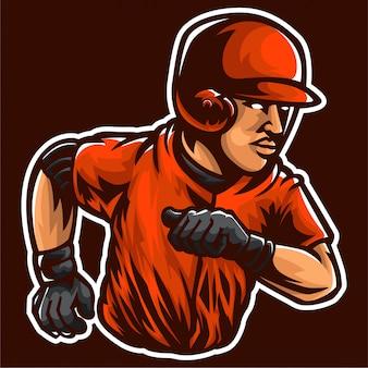 Modello di logo del giocatore di baseball del corridore