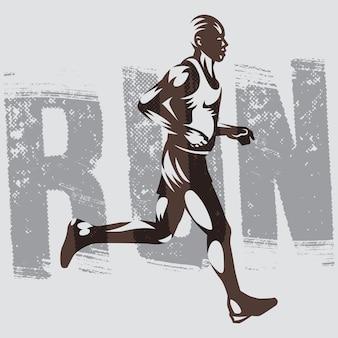 Illustrazione isolata di atletismo di logo del corridore.