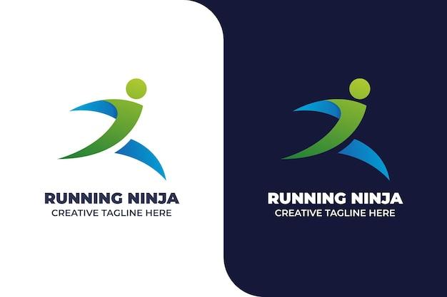 Running athletic marathon logo gradiente