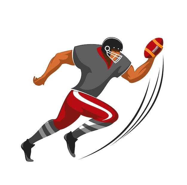 Giocatore di running back, atleta di football americano in uniforme e casco eseguito con la palla. personaggio sportivo della lega muscolare dei cartoni animati in movimento, campionato, competizione isolato su sfondo bianco
