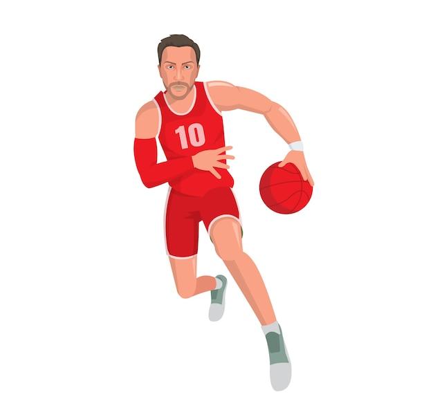 Giocatore di basket in esecuzione con palla, personaggio dei cartoni animati.