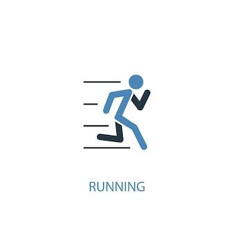 Esecuzione di concetto 2 icona colorata. illustrazione semplice dell'elemento blu. disegno di simbolo di concetto in esecuzione. può essere utilizzato per ui/ux mobile e web
