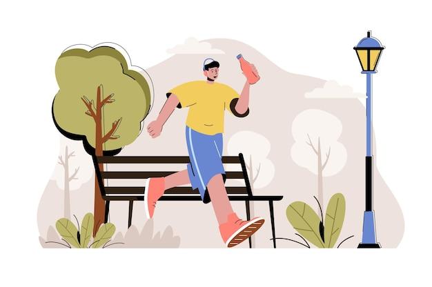 Concetto di corsa uomo che corre nel parco attività sportiva