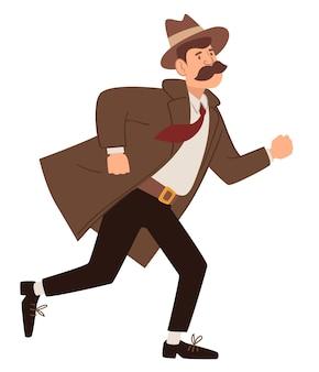 Detective o ispettore in corsa, a caccia di un sospetto. personaggio maschile del passato in missione. professione di agente di polizia. lavoro di gentiluomo. carattere vintage e vecchio stile, vettore in stile piatto