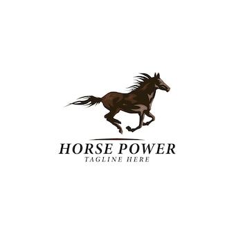 Un'illustrazione vettoriale del logo di potenza del cavallo in corsa