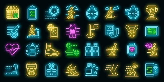 Set di icone in esecuzione. contorno set di icone vettoriali in esecuzione colore neon su nero