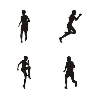 In esecuzione logo design, silhouette in esecuzione