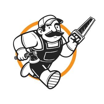 La mascotte del boscaiolo in esecuzione tiene l'ascia e vede il personaggio del logo della mascotte
