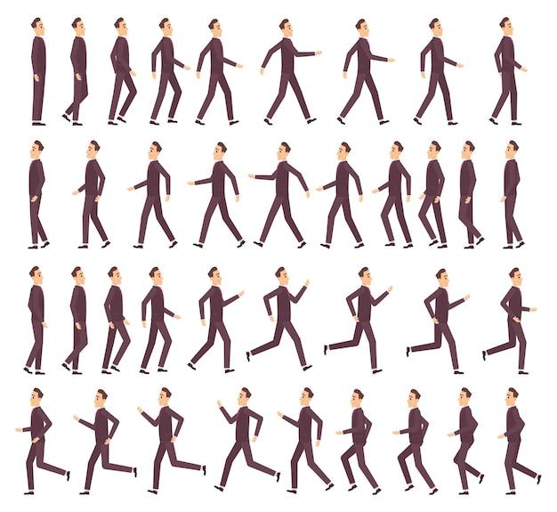 Uomo che corre. uomo d'affari veloce in esecuzione keyframe animazione 2d fumetto piatto sprite per carattere di vista laterale del profilo di gioco.