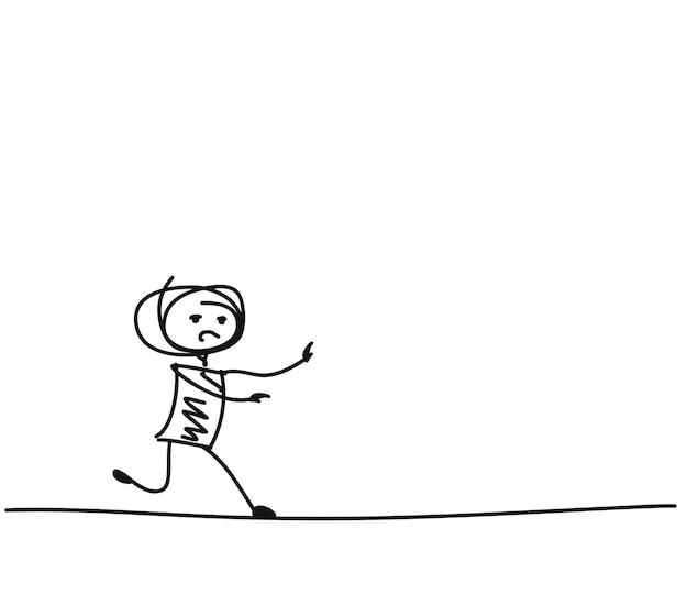 Uomo che corre, illustrazione vettoriale di schizzo disegnato a mano del fumetto.