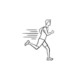 Icona di doodle di contorni disegnati a mano dell'uomo corrente. maratona, atleta sprint, allenamento di velocità e concetto di allenamento