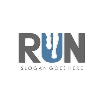 Uomo in esecuzione, disegno di modello del marchio della maratona e del jogging