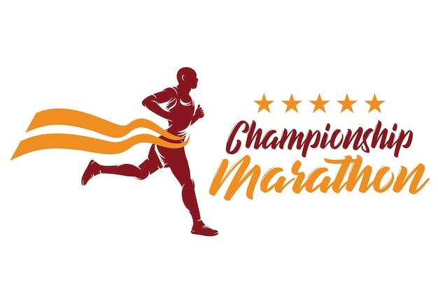 Esecuzione e maratona logo design, illustrazione vettoriale