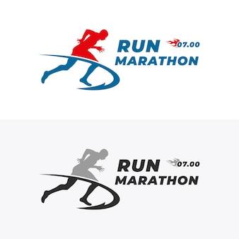 Modello di progettazione del logo di corsa e maratona