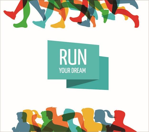 Modello di poster per la maratona di corsa