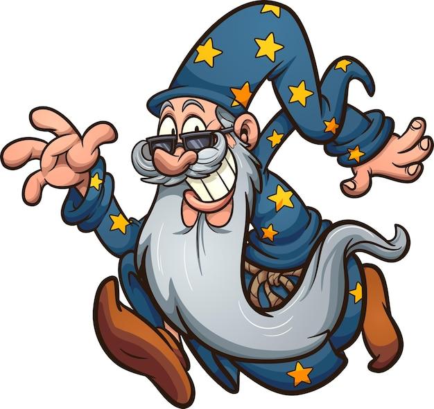 Esecuzione di un vecchio mago dei cartoni animati con la barba lunga