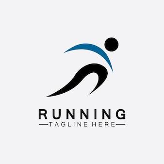 Esecuzione di persone logo simbolo illustrazione vettoriale design. atleti di maratona in esecuzione sani che sprintano logo vettoriale