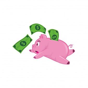 Esecuzione di piggy bank con denaro