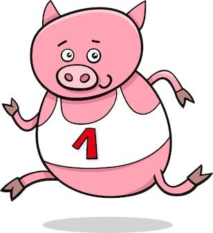 Illustrazione di cartone animato maialino in esecuzione