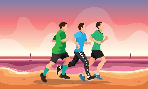 Illustrazione di sagome di corsa corridore di maratona di trail running