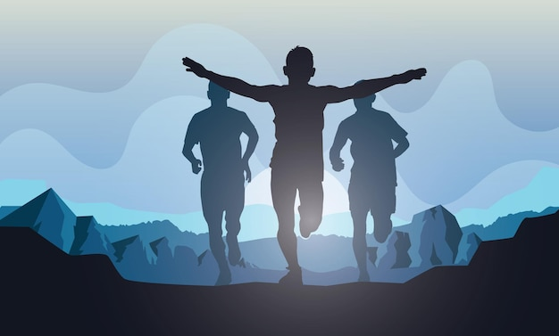 Sagome di corsa trail running maratoneta
