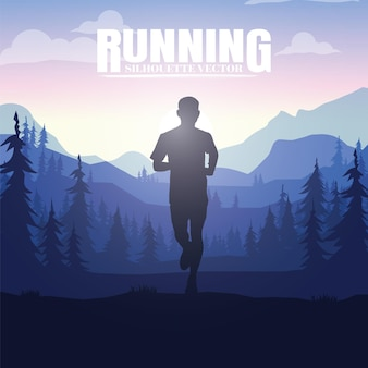 Sagome in esecuzione. illustrazione vettoriale, trail running, marathon runner.