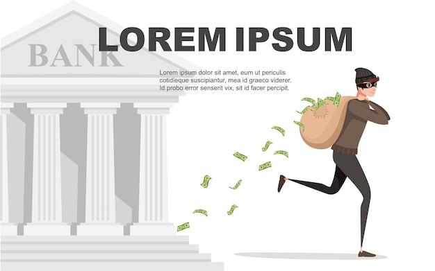 Ladro in esecuzione durante la rapina con borsa denaro versa dalla borsa personaggio dei cartoni animati design piatto illustrazione vettoriale con retro banca su sfondo