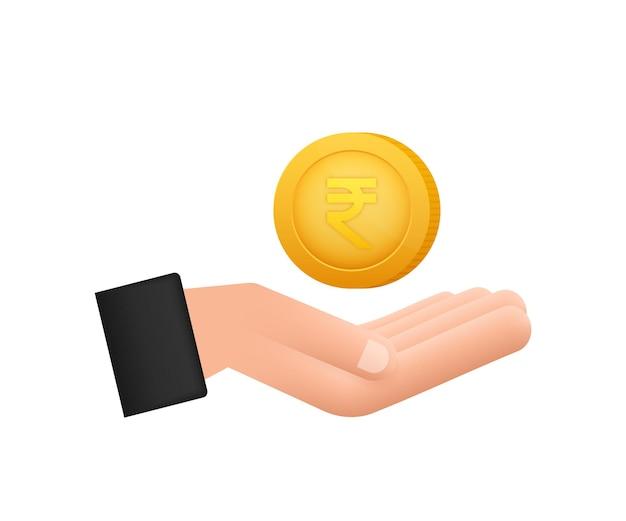 Moneta rupia a portata di mano, ottimo design per qualsiasi scopo. illustrazione vettoriale di stile piatto. icona di valuta.