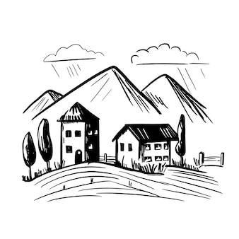 Paesaggio agricolo rurale in stile incisione. illustrazione di agricoltura disegnata a mano