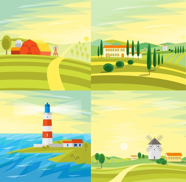 Paesaggio rurale dell'azienda agricola con case o vecchio mulino a vento tradizionale e faro sul mare con le onde per la navigazione. illustrazione di stile piatto