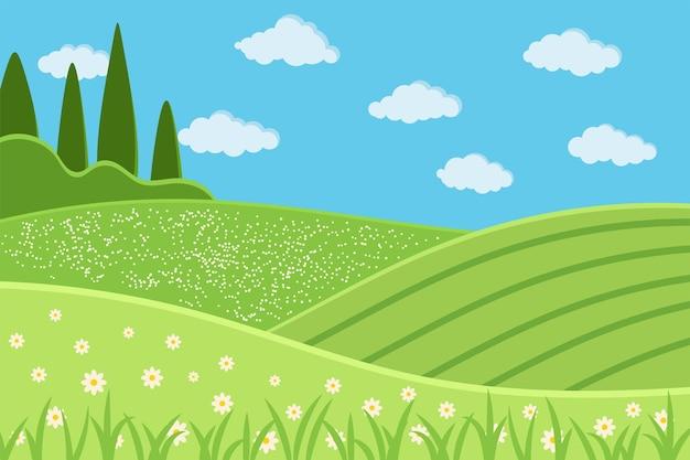Scena di paesaggio verde rurale. fondo di paesaggio del paese di estate con i campi verdi, prato, nuvole, erba, fiori, alberi, cielo blu. illustrazione di vettore di stile del fumetto design piatto.