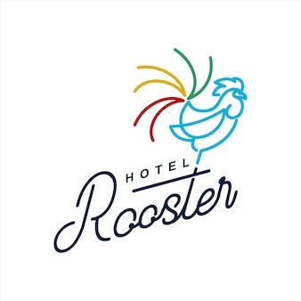 Design del logo dell'hotel rurale con il vettore del gallo