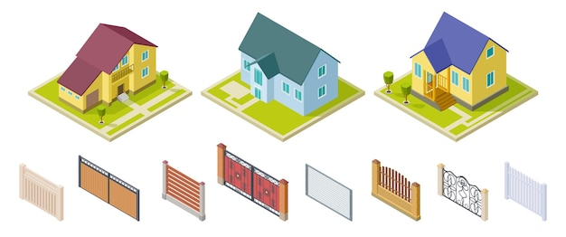 Case rurali e recinzioni. elementi di design per esterni isolati. insieme di vettore di edifici e cancelli isometrici. edificio rurale e architettura costruzione 3d casa illustrazione
