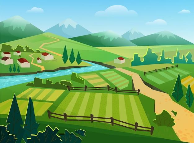 Illustrazione di campagna paesaggio rurale
