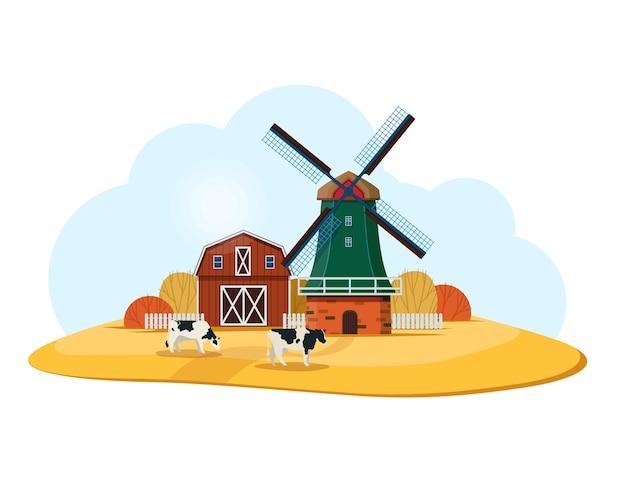 Paesaggio rurale con mulino a vento olandese e fattoria le mucche bianche e nere pascolano nel prato