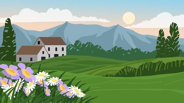 Paesaggio rurale con prati e montagne